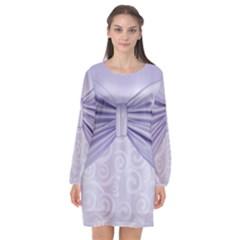 Ribbon Purple Sexy Long Sleeve Chiffon Shift Dress