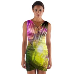 Plaid Star Light Color Rainbow Yellow Purple Pink Gold Blue Wrap Front Bodycon Dress by Mariart