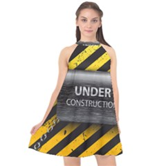 Under Construction Sign Iron Line Black Yellow Cross Halter Neckline Chiffon Dress  by Mariart