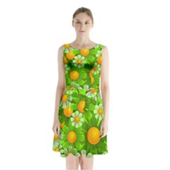 Sunflower Flower Floral Green Yellow Sleeveless Waist Tie Chiffon Dress by Mariart