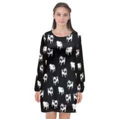 Pug Dog Pattern Long Sleeve Chiffon Shift Dress  by Valentinaart
