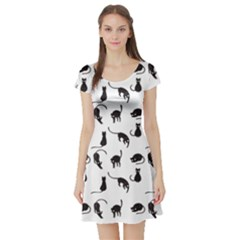 Black Cats Pattern Short Sleeve Skater Dress by Valentinaart
