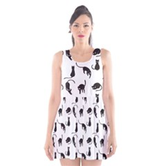 Black Cats Pattern Scoop Neck Skater Dress by Valentinaart