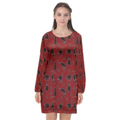 Black Cats And Witch Symbols Pattern Long Sleeve Chiffon Shift Dress  by Valentinaart
