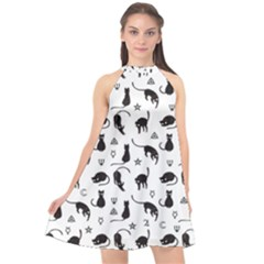 Black Cats And Witch Symbols Pattern Halter Neckline Chiffon Dress  by Valentinaart