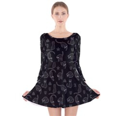 Black Cats And Witch Symbols Pattern Long Sleeve Velvet Skater Dress by Valentinaart