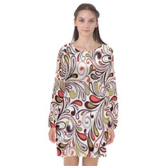 Colorful Abstract Floral Background Long Sleeve Chiffon Shift Dress  by TastefulDesigns