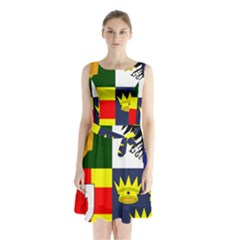 Arms Of Four Provinces Of Ireland  Sleeveless Waist Tie Chiffon Dress by abbeyz71
