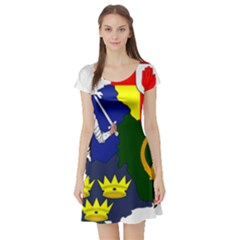 Flag Map Of Provinces Of Ireland Short Sleeve Skater Dress by abbeyz71