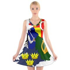 Flag Map Of Provinces Of Ireland V Neck Sleeveless Skater Dress by abbeyz71