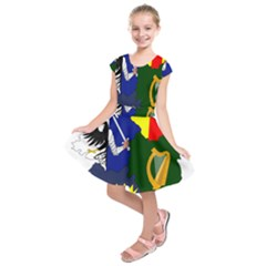 Flag Map Of Provinces Of Ireland Kids  Short Sleeve Dress by abbeyz71