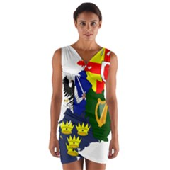 Flag Map Of Provinces Of Ireland  Wrap Front Bodycon Dress by abbeyz71