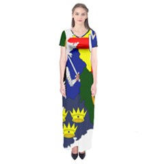 Flag Map Of Provinces Of Ireland  Short Sleeve Maxi Dress by abbeyz71