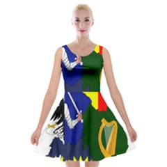 Flag Map Of Provinces Of Ireland  Velvet Skater Dress by abbeyz71