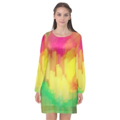 Pastel Shapes Painting      Long Sleeve Chiffon Shift Dress by LalyLauraFLM