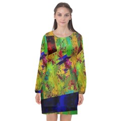 Green Paint       Long Sleeve Chiffon Shift Dress