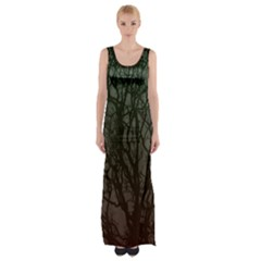 Autumn Trees Maxi Thigh Split Dress by greenthanet