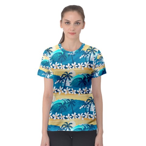 Tropical Surfing Palm Tree Women s Sport Mesh Tee by pushu