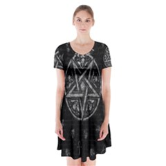 Witchcraft Symbols  Short Sleeve V-neck Flare Dress by Valentinaart