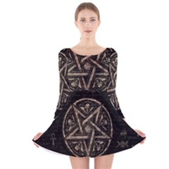 Witchcraft Symbols  Long Sleeve Velvet Skater Dress by Valentinaart