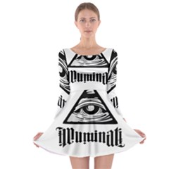 Illuminati Long Sleeve Skater Dress by Valentinaart