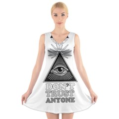 Illuminati V Neck Sleeveless Skater Dress by Valentinaart