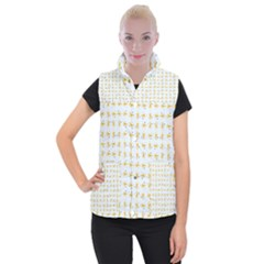Spaceships Pattern Women s Button Up Puffer Vest by linceazul