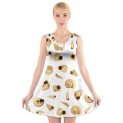 Shell Pattern V Neck Sleeveless Skater Dress by Valentinaart