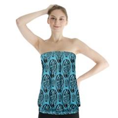 Turquoise Pattern Strapless Top by linceazul