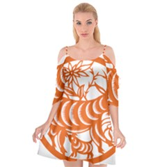 Chinese Zodiac Goat Star Orange Cutout Spaghetti Strap Chiffon Dress by Mariart