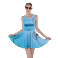 Flower Back Blue Green Sun Fly Skater Dress by Mariart