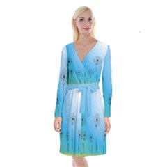 Flower Back Blue Green Sun Fly Long Sleeve Velvet Front Wrap Dress by Mariart