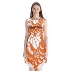 Chinese Zodiac Horoscope Zhen Icon Star Orangechicken Sleeveless Chiffon Dress   by Mariart