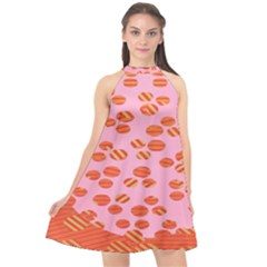 Distance Absence Sea Holes Polka Dot Line Circle Orange Chevron Wave Halter Neckline Chiffon Dress  by Mariart