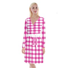Hot Pink Brush Stroke Plaid Tech White Long Sleeve Velvet Front Wrap Dress by Mariart