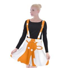 Giraffe Animals Face Orange Suspender Skater Skirt by Mariart
