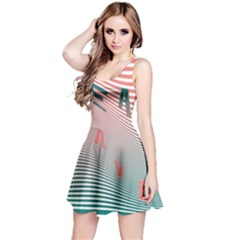 Heat Wave Chevron Waves Red Green Reversible Sleeveless Dress
