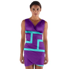 Illustrated Position Purple Blue Star Zodiac Wrap Front Bodycon Dress by Mariart