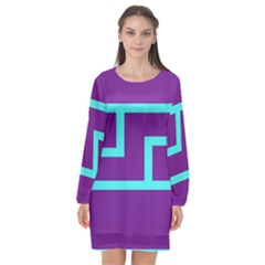 Illustrated Position Purple Blue Star Zodiac Long Sleeve Chiffon Shift Dress  by Mariart