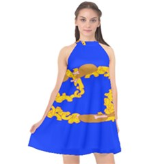 Illustrated 69 Blue Yellow Star Zodiac Halter Neckline Chiffon Dress  by Mariart