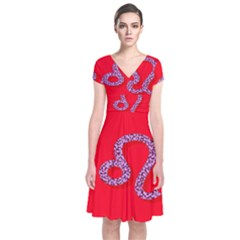 Illustrated Zodiac Red Purple Star Polka Dot Short Sleeve Front Wrap Dress by Mariart