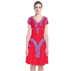 Illustrated Zodiac Red Star Purple Short Sleeve Front Wrap Dress