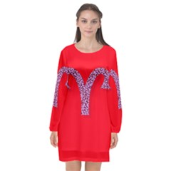 Illustrated Zodiac Red Star Purple Long Sleeve Chiffon Shift Dress  by Mariart