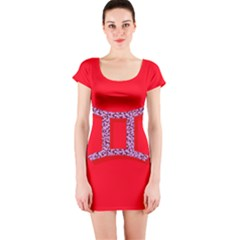 Illustrated Zodiac Red Purple Star Polka Dot Grey Short Sleeve Bodycon Dress by Mariart