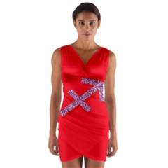 Illustrated Zodiac Star Red Purple Wrap Front Bodycon Dress by Mariart