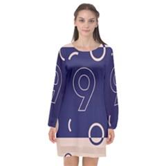 Number 9 Blue Pink Circle Polka Long Sleeve Chiffon Shift Dress