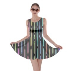 Pencil Stationery Rainbow Vertical Color Skater Dress