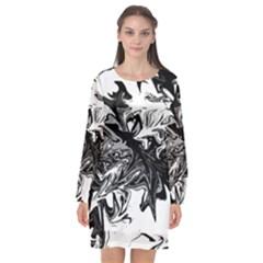 Colors Long Sleeve Chiffon Shift Dress