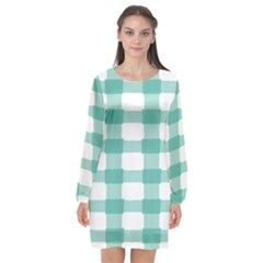 Plaid Blue Green White Line Long Sleeve Chiffon Shift Dress  by Mariart