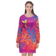 Colors Long Sleeve Chiffon Shift Dress  by Valentinaart